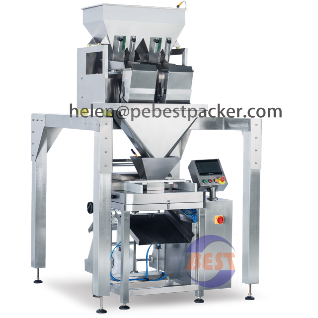 Fully Automatic Rice Packaging Machine 4heads Weigher Baked Food packing solution