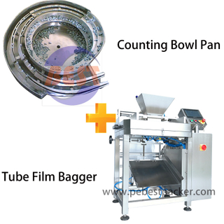 Screw Bolts Counting Bowl Pan Packing Machine into PE bag