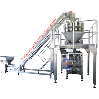 Automatic IQF Packing System With Multihead Weigher Green Peas Chopped Carrot Okra Prawns Shrimps Package